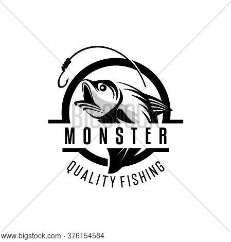 Fishing Logo. Bass Fish Club Emblem. Fishing Theme Vector Illustration. Isolated On White.