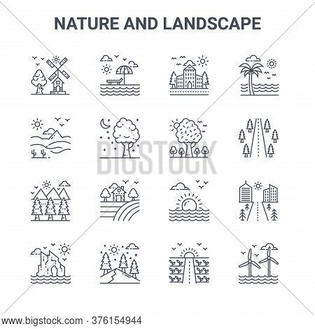Set Of 16 Nature And Landscape Concept Vector Line Icons. 64x64 Thin Stroke Icons Such As Beach, Des
