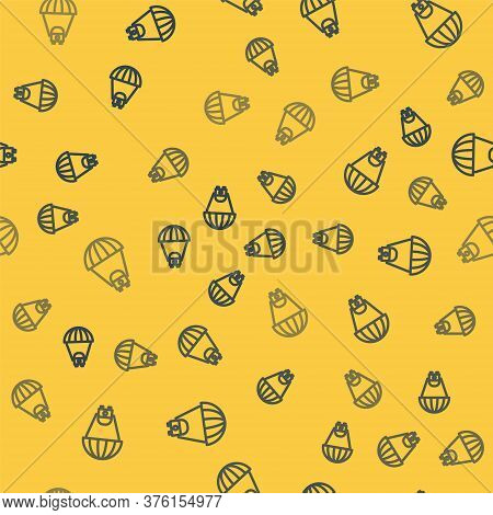 Blue Line Planet Saturn With Planetary Ring System Icon Isolated Seamless Pattern On Yellow Backgrou