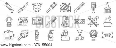 Hairdressing And Barber Line Icons. Linear Set. Quality Vector Line Set Such As Bow Tie, Scissors, L