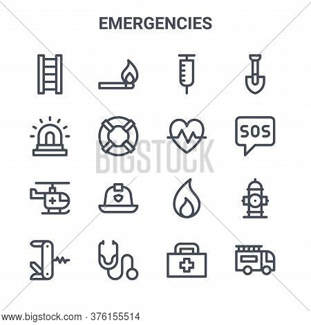 Set Of 16 Emergencies Concept Vector Line Icons. 64x64 Thin Stroke Icons Such As Match, Siren, Sos,