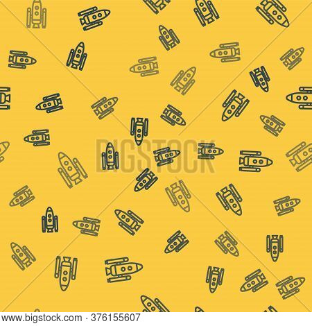 Blue Line Space Shuttle And Rockets Icon Isolated Seamless Pattern On Yellow Background. Vector Illu
