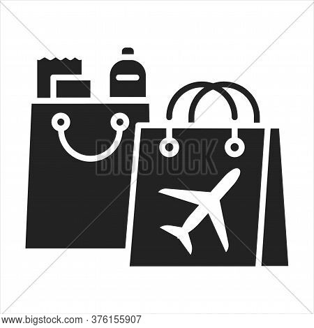 Duty Free Shopping Black Glyph Icon. Retail Outlets. Goods Are Exempt From The Payment Of Certain Lo