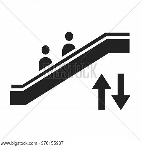 Escalator Black Glyph Icon. Moving Staircase Which Carries People Between Floors Of A Building. Pict