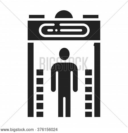Metal Detector Black Glyph Icon. Electronic Machine. Detects The Presence Of Metal Nearby. Pictogram