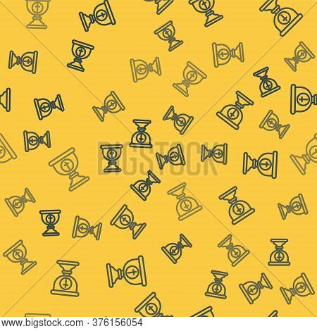 Blue Line Christian Chalice Icon Isolated Seamless Pattern On Yellow Background. Christianity Icon.