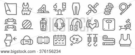 Pilates Line Icons. Linear Set. Quality Vector Line Set Such As Top, Hook, Calendar, Diet, Scales, W