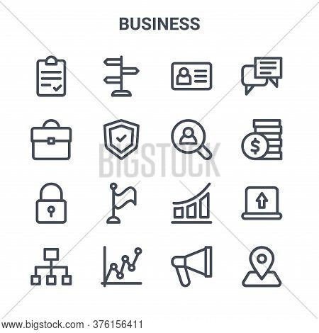 Set Of 16 Business Concept Vector Line Icons. 64x64 Thin Stroke Icons Such As Guidepost, Portfolio,