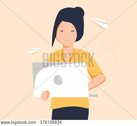 Unemployed Woman Hold Banner With Text I Need A Job Vector Flat Illustration. Hopeless Guy Trying To