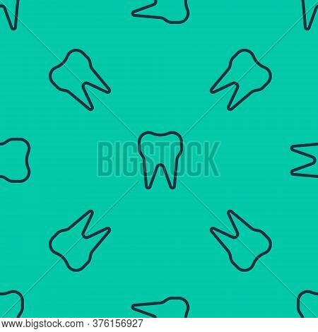 Blue Line Tooth Icon Isolated Seamless Pattern On Green Background. Tooth Symbol For Dentistry Clini