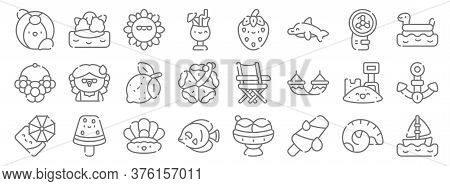 Summer Line Icons. Linear Set. Quality Vector Line Set Such As Sailboat, Popsicle, Fish, Beach Umbre
