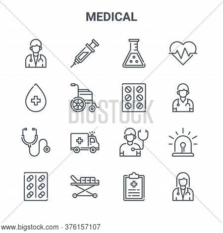 Set Of 16 Medical Concept Vector Line Icons. 64x64 Thin Stroke Icons Such As Syringe, Blood, Doctor,