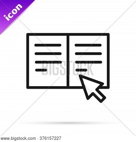Black Line Online Book Icon Isolated On White Background. Internet Education Concept, E-learning Res
