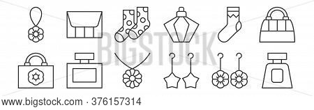 12 Set Of Linear Accessory Icons. Thin Outline Icons Such As Perfume Bottle, Dangling Earring, Fragr