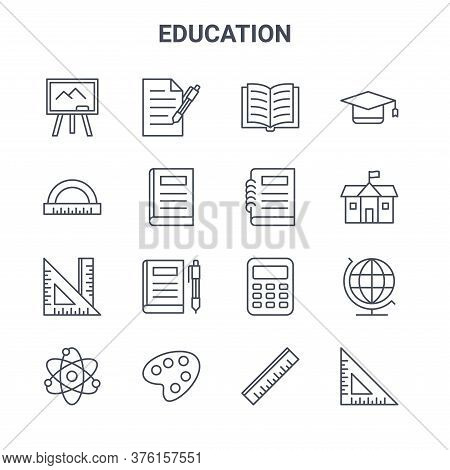 Set Of 16 Education Concept Vector Line Icons. 64x64 Thin Stroke Icons Such As Writing, Curve Ruler,