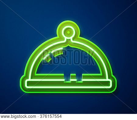 Glowing Neon Line Covered With A Tray Of Food Icon Isolated On Blue Background. Tray And Lid. Restau