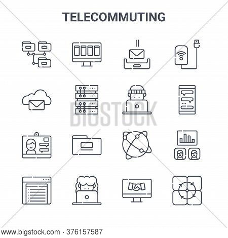 Set Of 16 Telecommuting Concept Vector Line Icons. 64x64 Thin Stroke Icons Such As Task, Cloud, Chat