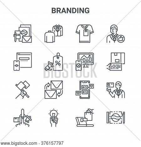 Set Of 16 Branding Concept Vector Line Icons. 64x64 Thin Stroke Icons Such As Personality, Vision, C
