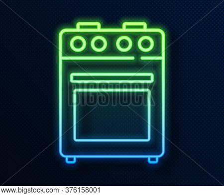 Glowing Neon Line Oven Icon Isolated On Blue Background. Stove Gas Oven Sign. Vector