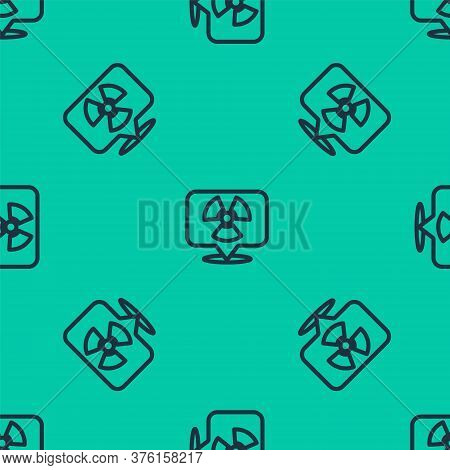 Blue Line Radioactive In Location Icon Isolated Seamless Pattern On Green Background. Radioactive To