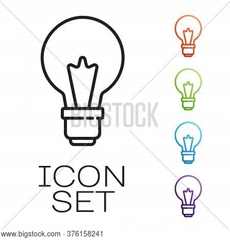 Black Line Light Bulb With Concept Of Idea Icon Isolated On White Background. Energy And Idea Symbol