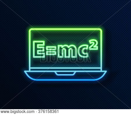 Glowing Neon Line Math System Of Equation Solution On Laptop Icon Isolated On Blue Background. E Equ
