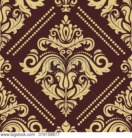 Orient Vector Classic Pattern. Seamless Abstract Background With Vintage Elements. Orient Brown And