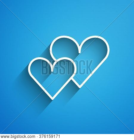 White Line Heart Icon Isolated On Blue Background. Romantic Symbol Linked, Join, Passion And Wedding