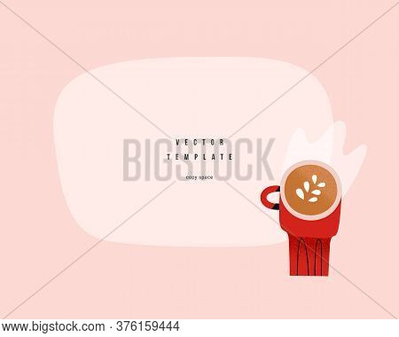 Coffee Blank Template Frame With Copy Space For Your Text Or Logo, Illustration Of Cappuccino Mug, G