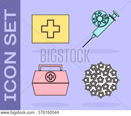 Set Virus, First Aid Kit, First Aid Kit And Syringe And Virus Icon. Vector