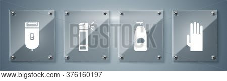 Set Rubber Gloves, Bottle Of Liquid Antibacterial Soap, Bottle With Nozzle Spray And Electrical Hair