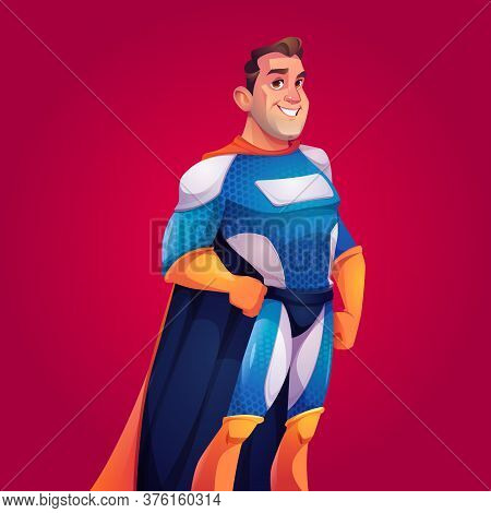 Superhero In Blue Costume With Cape. Vector Cartoon Poster With Strong Man With Muscular Figure In B