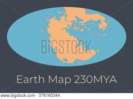 Map Of The Earth 230mya. Vector Illustration Of Earth Map With Orange Continents And Blue Oceans Iso