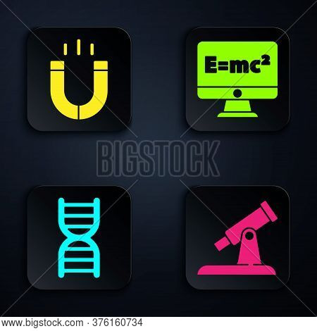 Set Telescope, Magnet, Dna Symbol And Equation Solution. Black Square Button. Vector