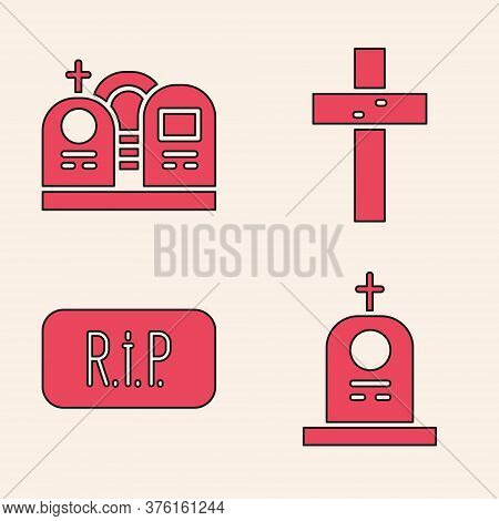 Set Grave With Tombstone, Grave With Tombstone, Christian Cross And Speech Bubble Rip Death Icon. Ve