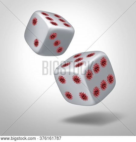 Disease Infection  Chance Concept As Dice With Pips Shaped As Virus Cells As Covid-19 Or Coronavirus