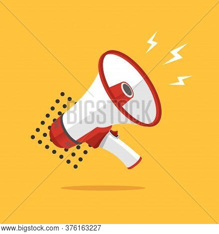 Loudspeaker Concept Banner Flat Design Style Symbol Of Warning And Attention Message. Vector Illustr