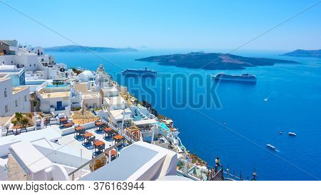 Fira (Thera) town on the coast of Santorini island in Greece. Picturesque greek landscape
