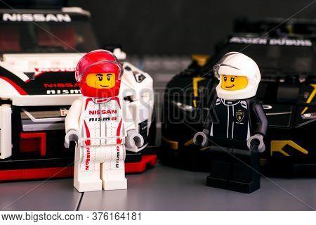 Tambov, Russian Federation - June 25, 2020 Lego Nissan Gt-r Nismo And Lamborghini Huracan Super Trof