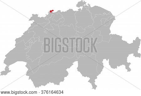 Basel-stadt Canton Isolated On Switzerland Map. Gray Background. Backgrounds And Wallpapers.