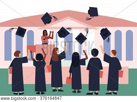 Graduates Throw Graduation Hats In The Sky. Solemn Motivational Speech Of Graduates. Solemn Event In