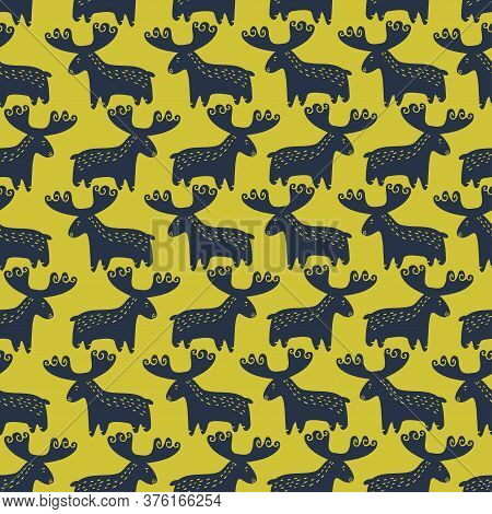 Vector Seamless Pattern Design Of Abstract Nordic Moose Silhouettes In Lines