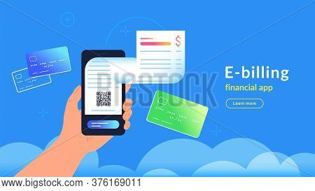 E-billing After Payment By Credit Card Via Electronic Wallet. Vector Gradient Illustration Of Human