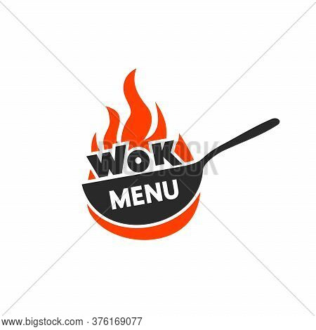 Wok Frying Pan Icon. Vector Illustration. Wok Asian Food Logo For Thai Or Chinese Restaurant.