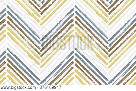 Tribal Zig Zag Interior Print Vector Seamless Pattern. Paintbrush Strokes Geometric Stripes. Hand Dr