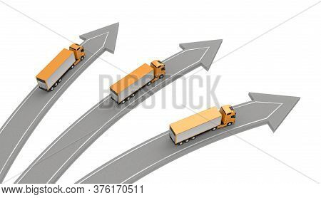 Three Trucks Go In Different Directions Isolated On White Above View. 3d Rendering