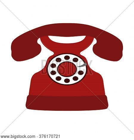 Retro Red Telephone Icon Isolated On White Background, Vintage Rotary Phone. Vector Illustration