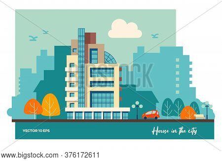 Urban Residential Building. Flat Illustration Of Urban Development