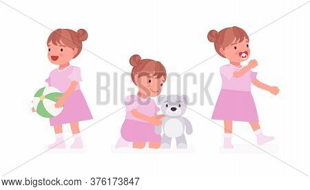 Toddler Child, Little Girl Playing With Toy Ball, Teddy Bear. Cute Sweet Happy Healthy Baby Aged 12
