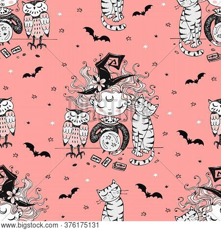 Seamless Pattern With A Halloween Theme With A Little Witch And Her Pets. Vector
